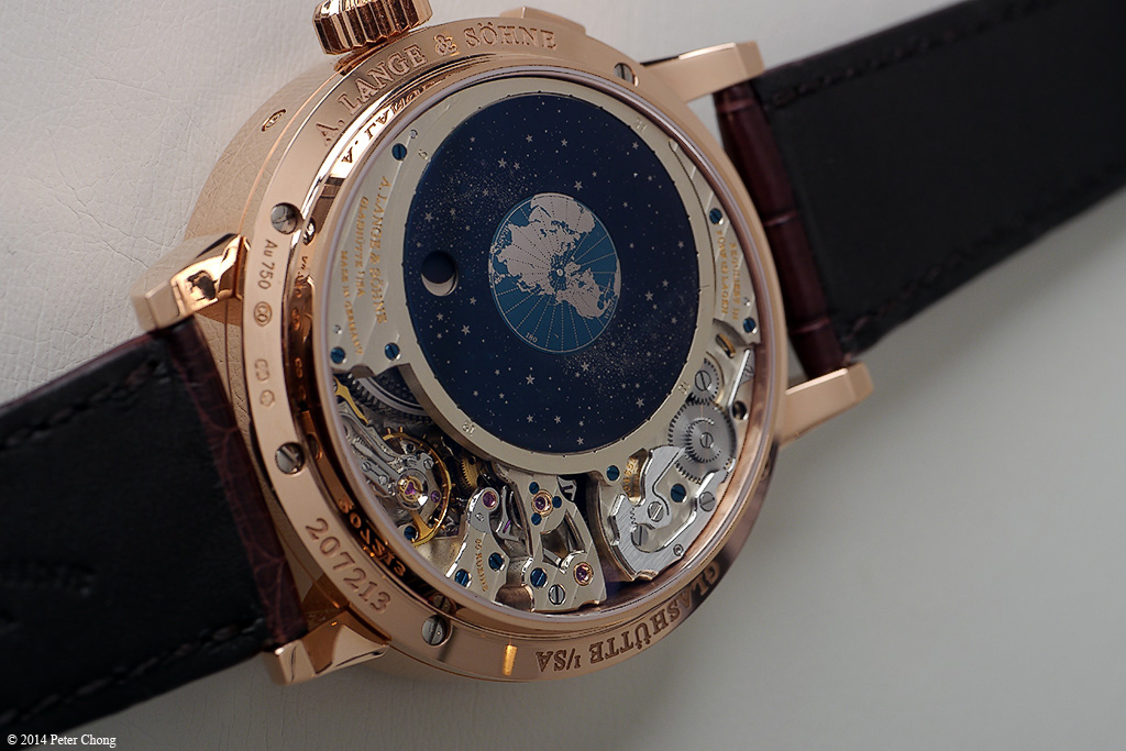 The reverse side of the Richard Lange Terra Luna showing the earth in the firmaments.