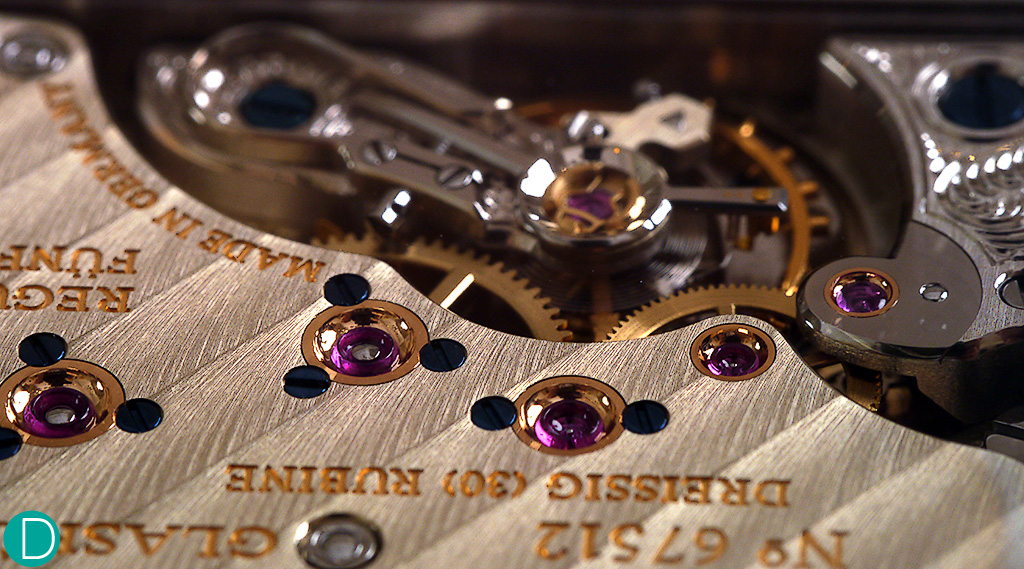 L931 movement, showing the jewels in gold chatons held by blued screws. A visual treat!