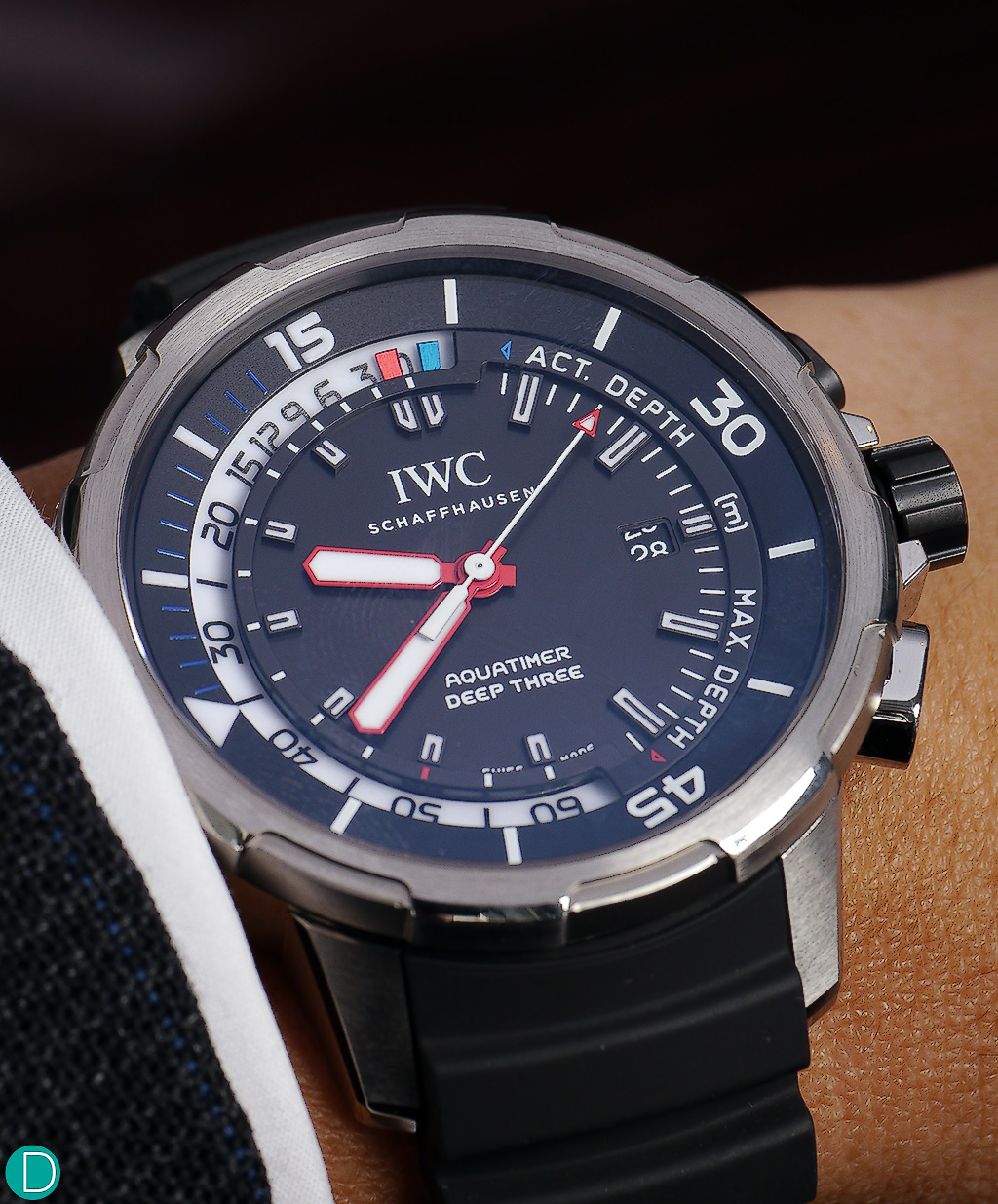 The IWC Aquatimer Deep 3, which features a mechanical depth gauge.