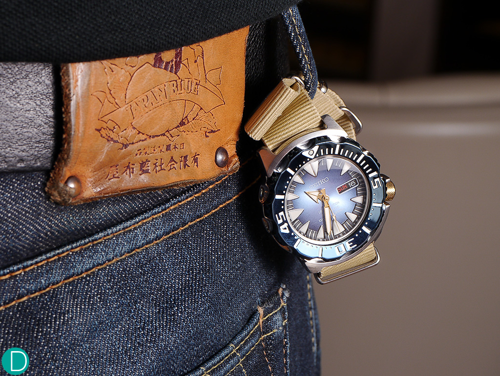 "Best of Japan...Seiko ""Blue Monster"" and Momotaro jeans."