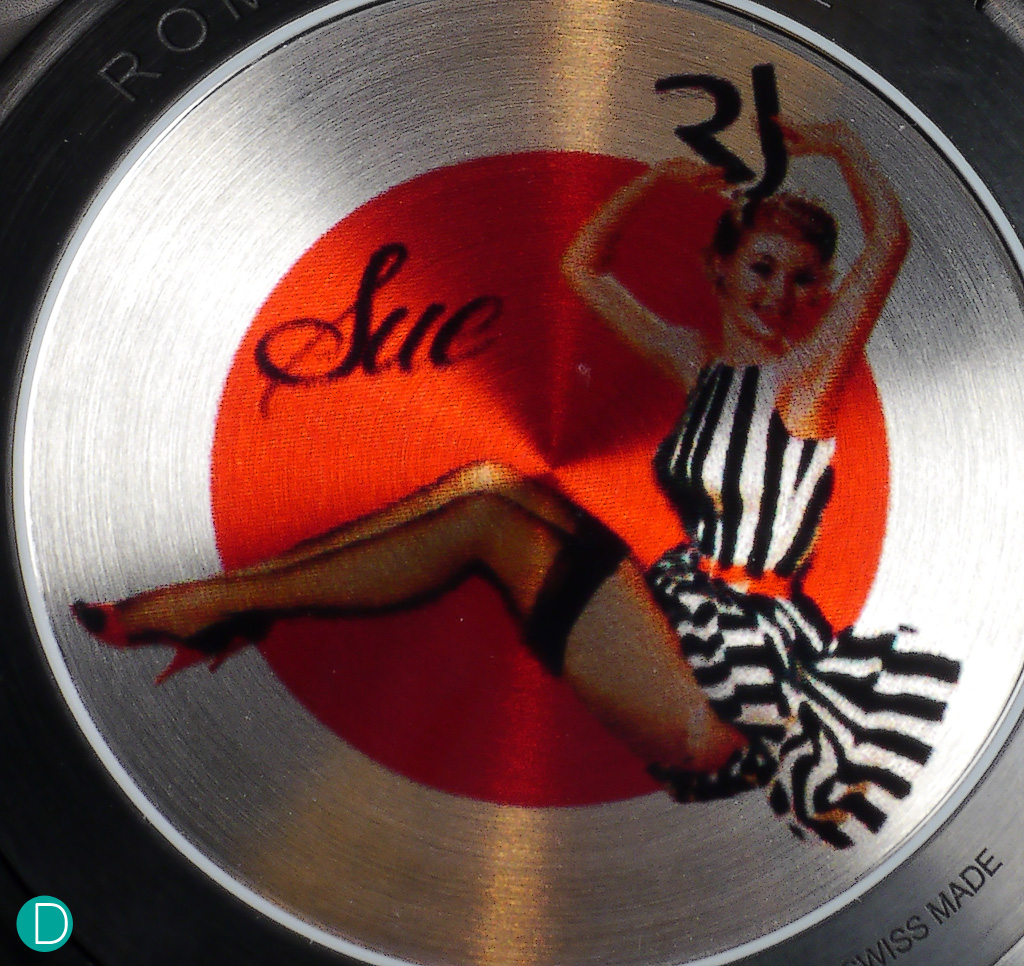 "The pin-ups on the caseback; it is inspired by the Varga Girls and the ""Pink Lady"" Nose Art."