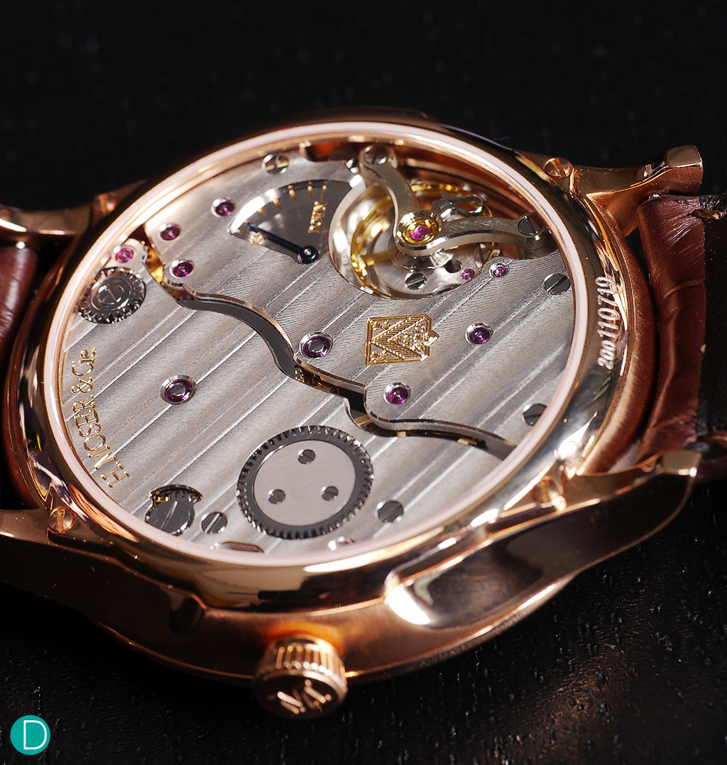 A picture of the Caliber HMC 327. As usual, the finishing on H. Moser & Cie.'s pieces are of the highest quality.