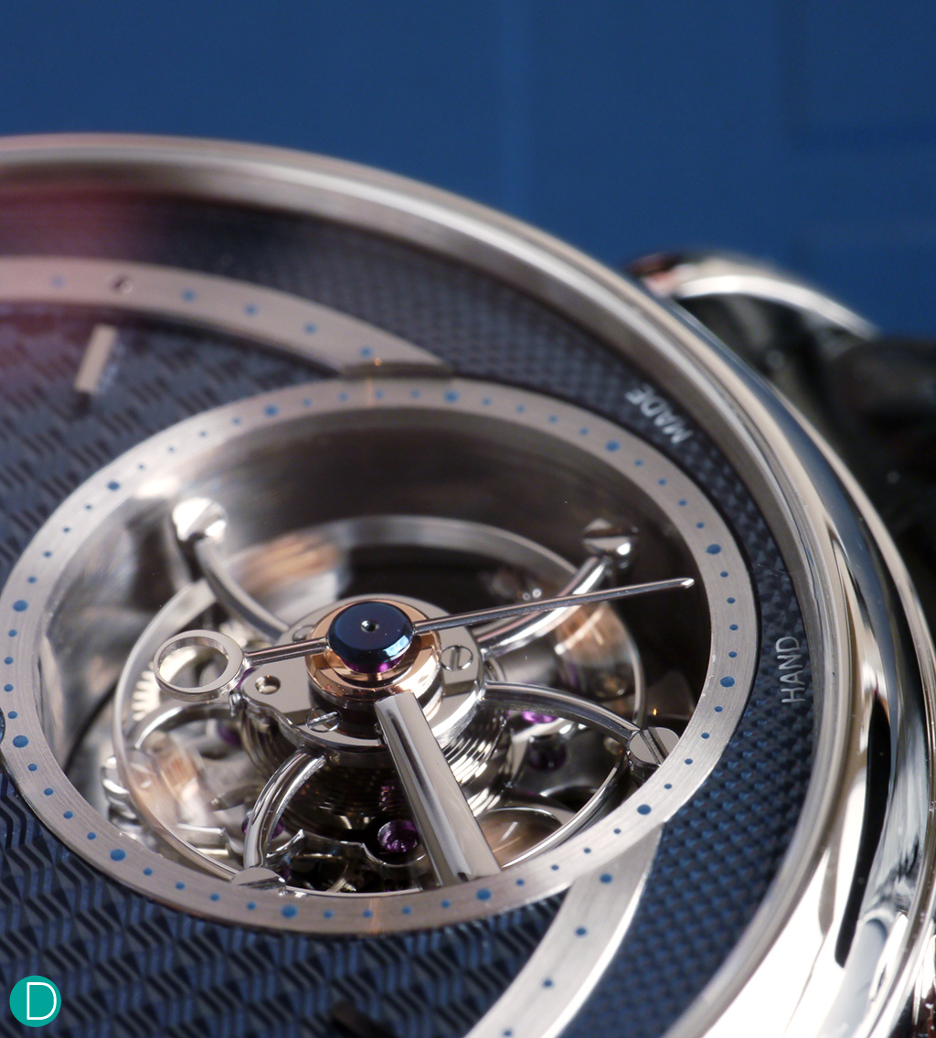 Tourbillon detail. Amazing detail on the polished steel tourbillon cage, coupled with the innovative double escape wheel.