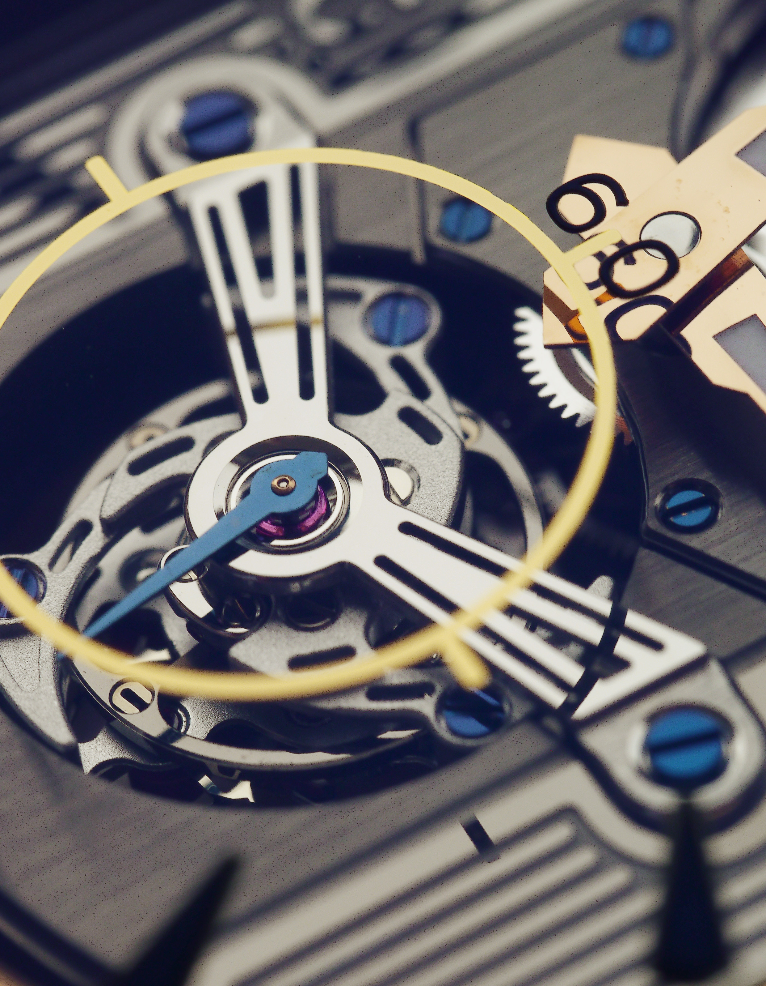 The main star of the timepiece- the Tourbillon. This one is a little special; it looks rather modern actually.