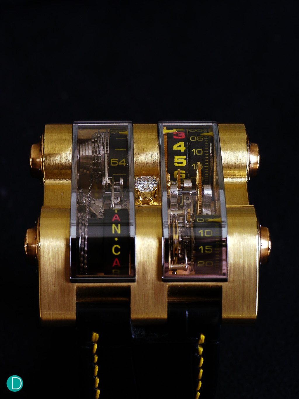 The Cabestan Winch Vertical Tourbillon , which feature drums to tell time.