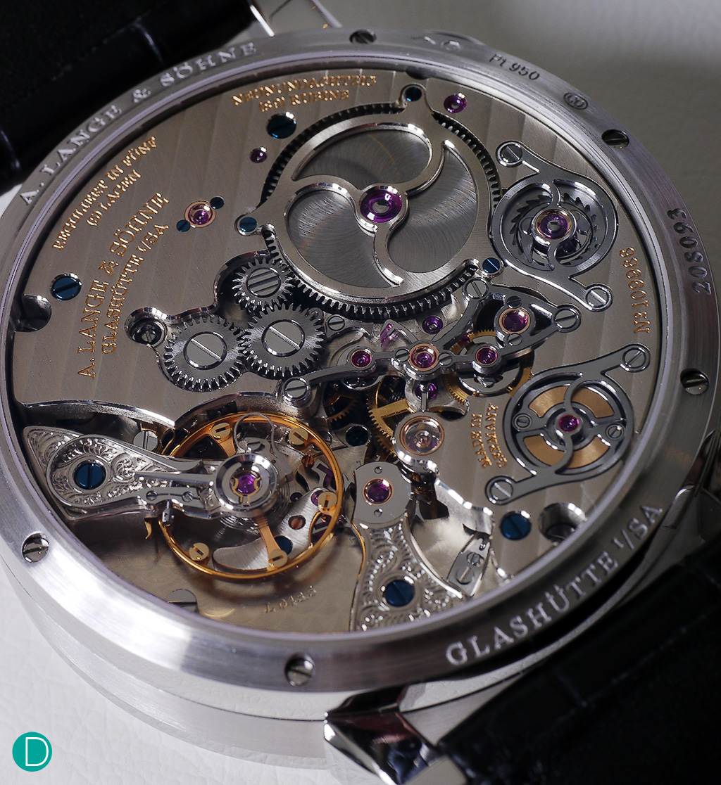 The movement: Caliber L043.5, is nicely laid out, and elaborately decorated in traditional Lange fashion.