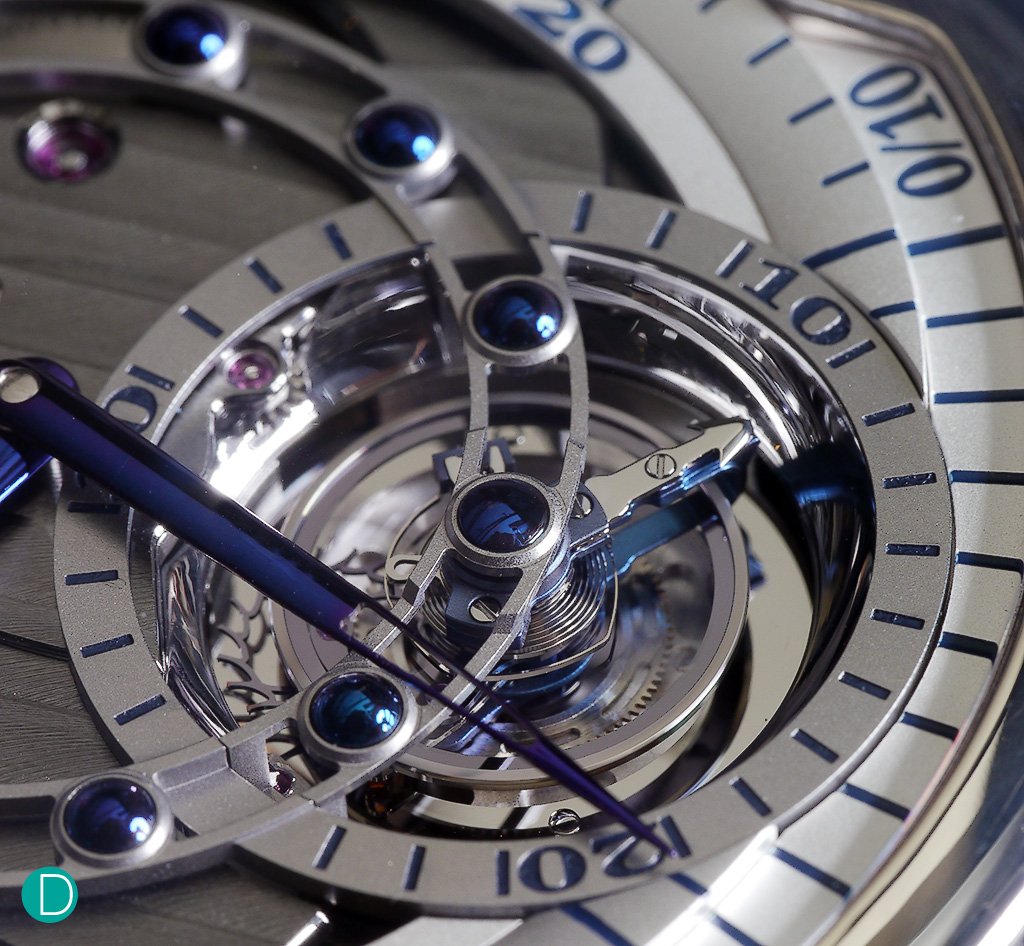 Detail of the De Bethune DBS Tourbillon. The finishing on the exposed movement which is fully visible as the vestigial dial retracts to only a ring around the face.