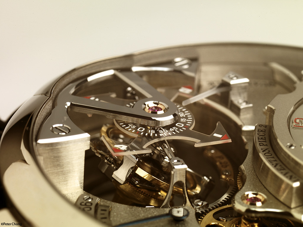 The Greubel Forsey Invention no 2: showing the detail of the double axis tourbillon.