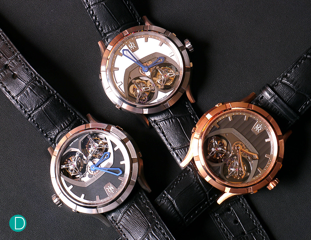 Manufacture Royale 1770 Micromegas. Available in rose gold or titanium. The titanium version is available with two different dials.