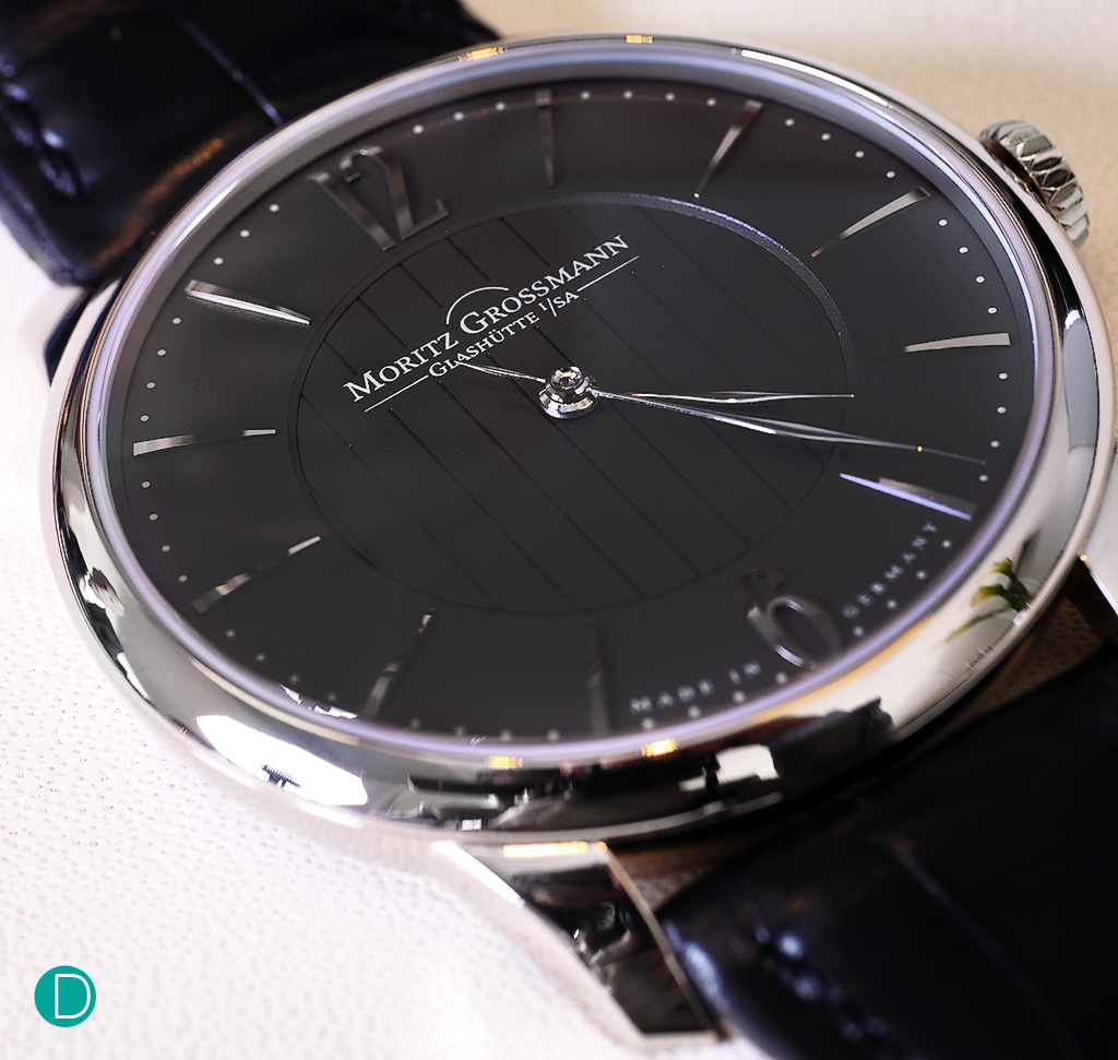 The Moritz Grossmann Tefnut in white gold, and charcoal dial. The detailing is rather elegant and nicely finished.