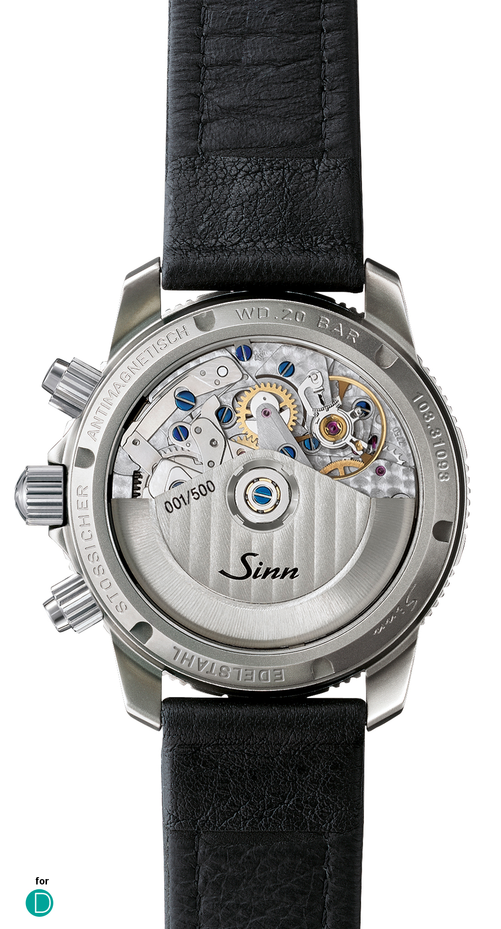 The transparent back of the Sinn 103 A Sa B, featuring the ubiquitous Valjoux 7750 movement.