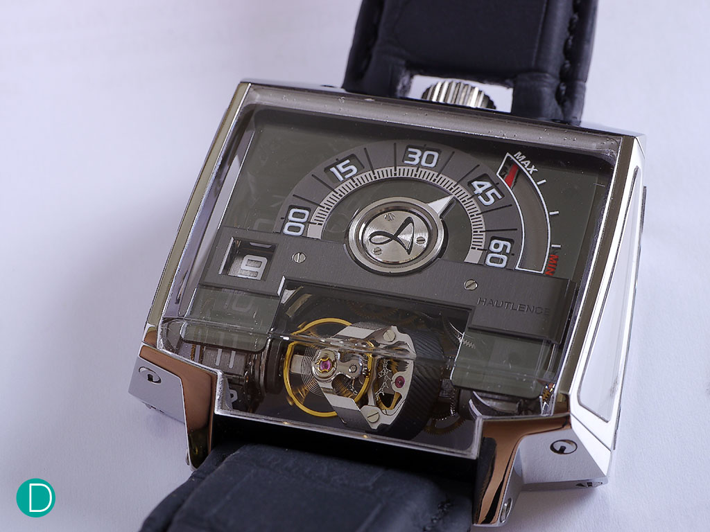 The Hautlence Vortex. It features an angular case, in which we were told that it was inspired by post-modern architecture and the concept of deconstruction.