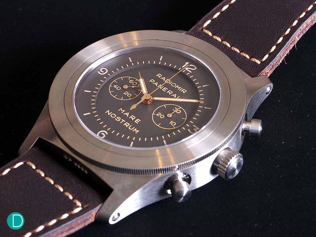 PAM603: Mare Nostrum Titanio. Column wheel chronograph made by Minerva.
