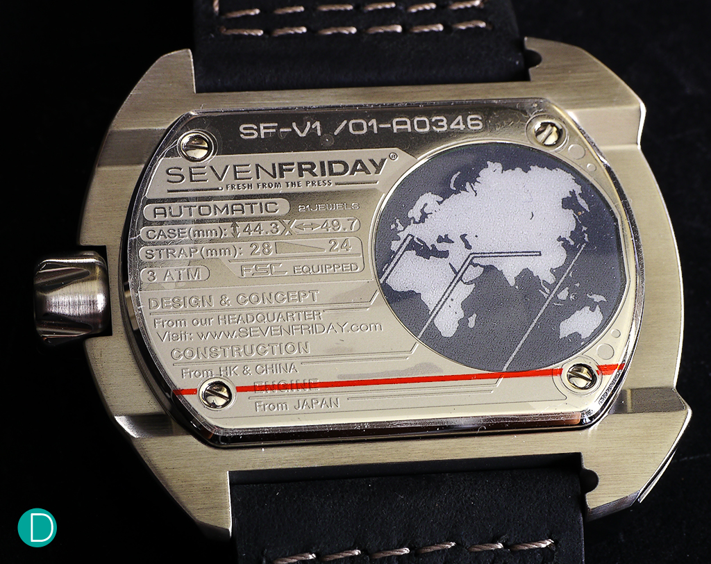 The caseback, showing the world map. Below the map is the NFC (Near Field Communications) chip which allows the watch to be authenticated and registered with SEVENFRIDAY for after service and community features.