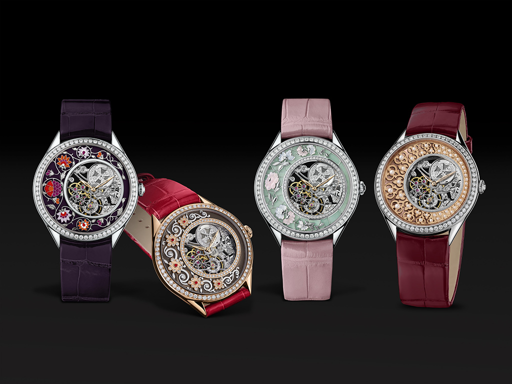 The four watches which comprise the VC Métiers d'Art Fabuleux Ornements