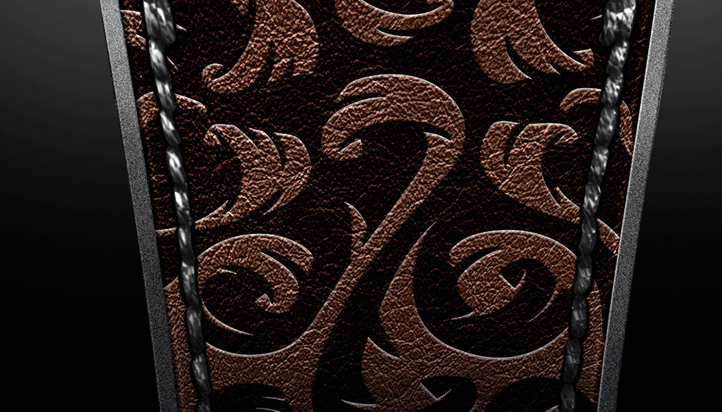 Detail on the laser engraved Maori inspired design on the strap.