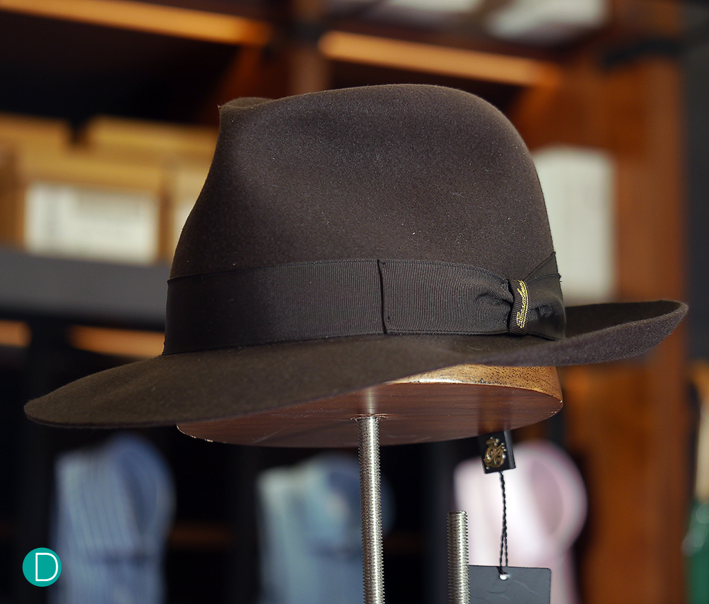 Borsalino Hat. Classic brown rabbit felt, with a brown grosgrain band.