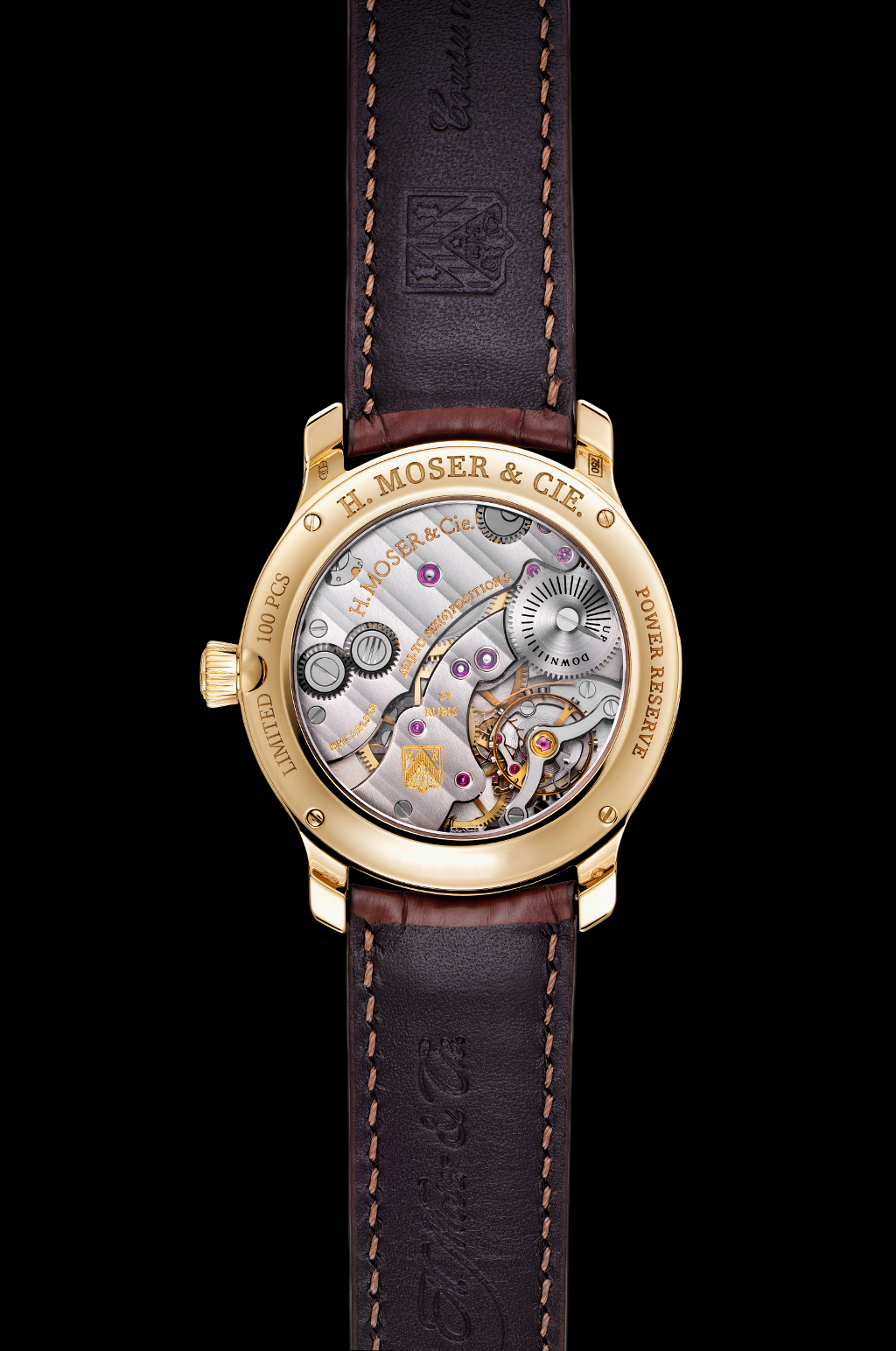 The watch is powered by H. Moser & Cie.'s HMC 321 calibre.