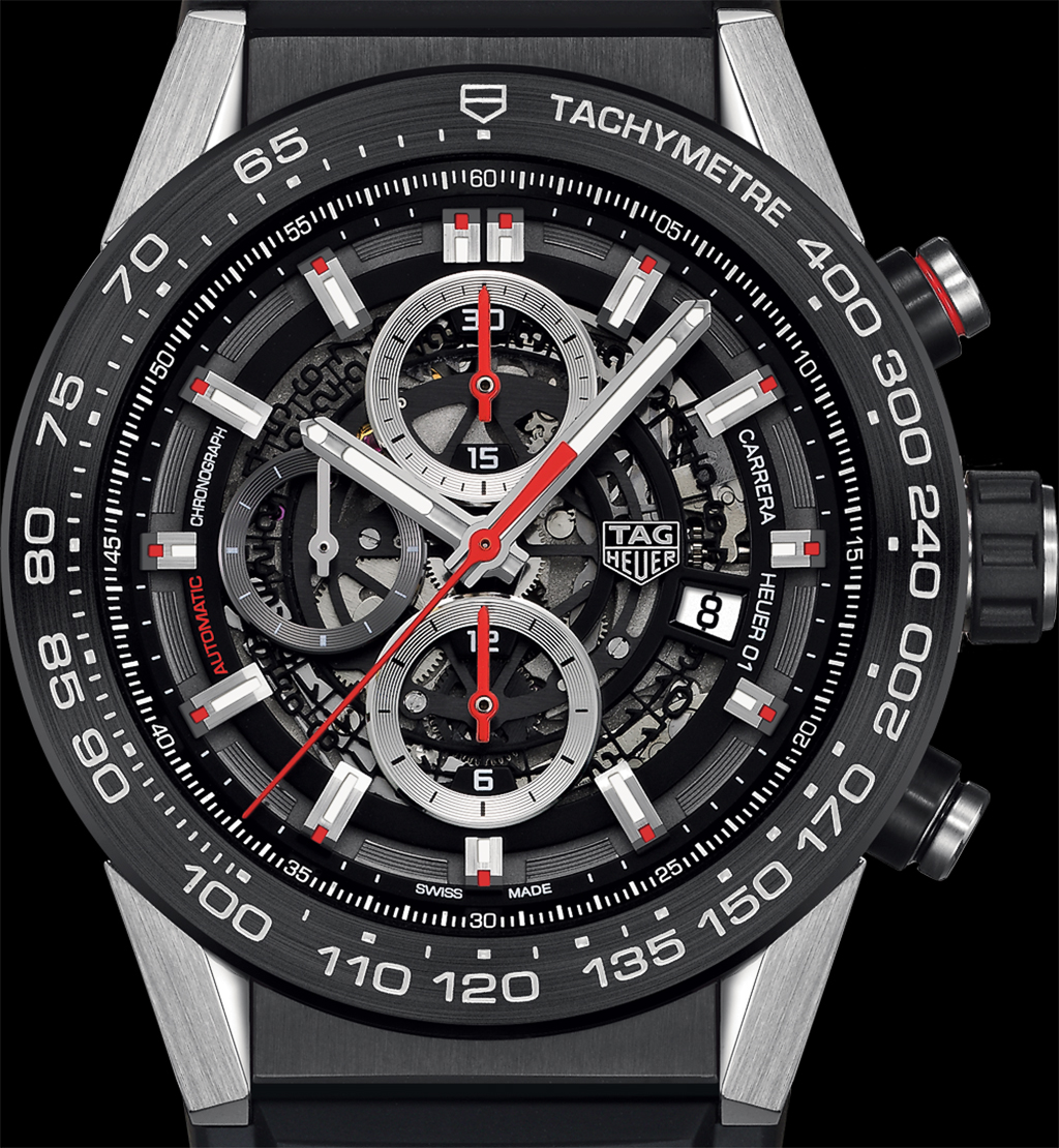The TAG Heuer Carrera Heuer 01. This is the official press photograph with some revisions to improve readability. Compare this to the other photographs, and note the location for the TAG logo and the date aperture is revised.