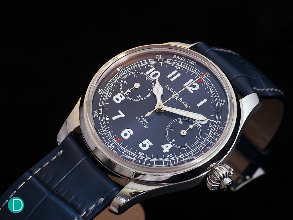 Montblanc 1858 Chronograph Tachymeter Blue in a stainless steel case.