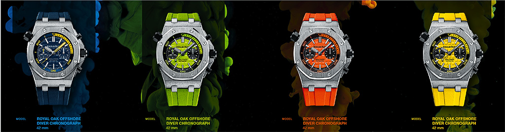 All four of the AP Royal Oak Offshore Diver Chronograph in funky color dials.