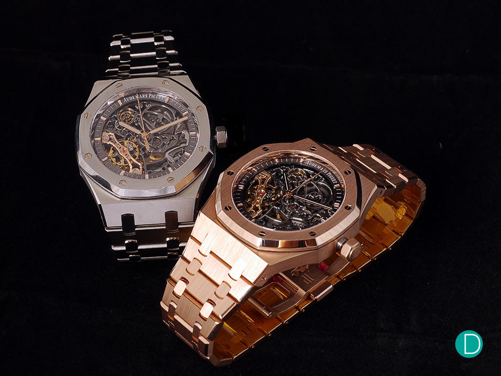 The Audemars Piguet Royal Oak Double Balance Wheel Openworked are available in stainless steel and pink gold. With the latter commanding a premium of more than $30,000 over the steel.