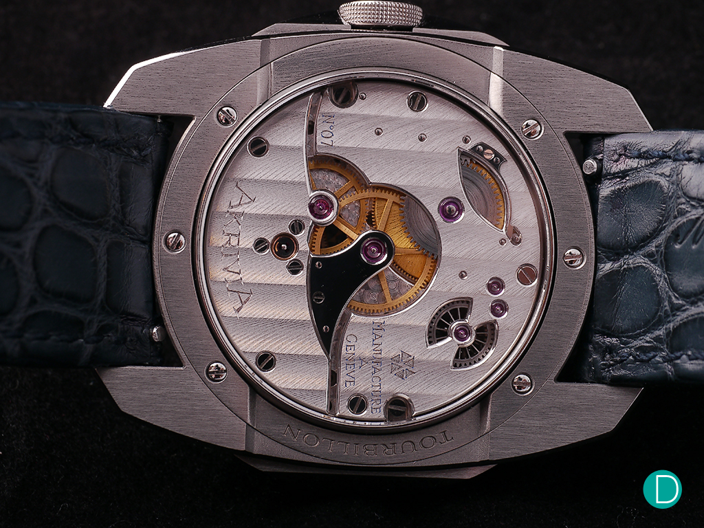 "The hand finished movement features the ""Côtes de Genève"" finishing"