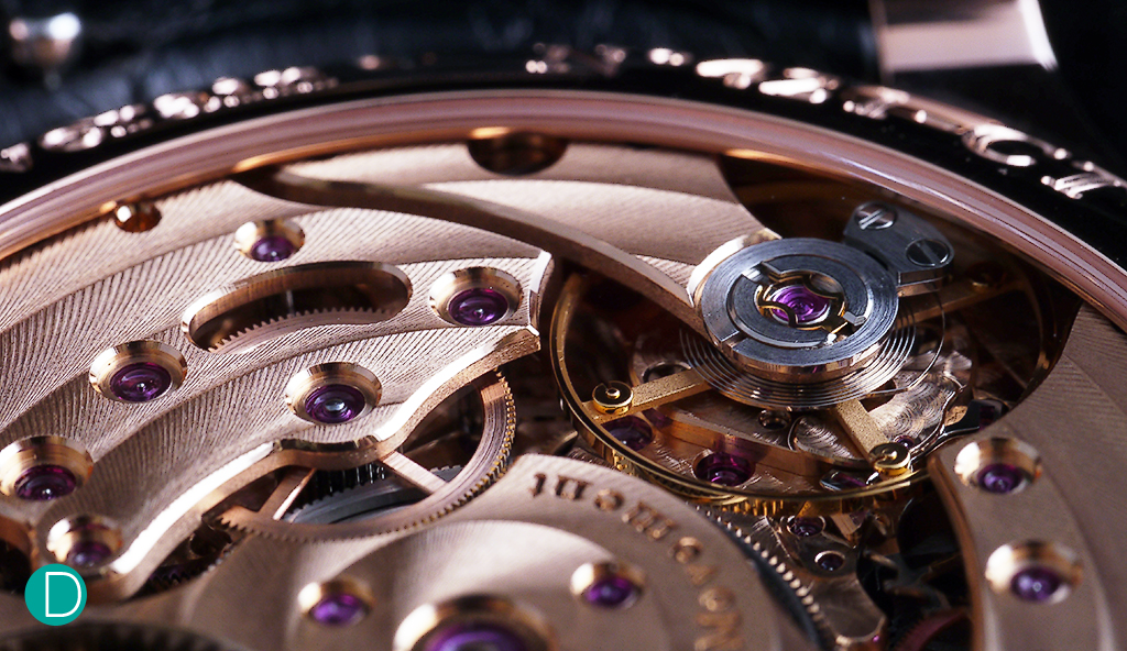 Beautiful finishing on the Centigraphe movement.