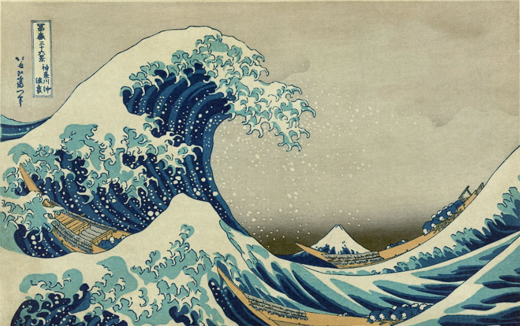 The original Hokusai print, The Great Wave off Kanagawa which is depicted in intricated detail on the Credor Fugaku.