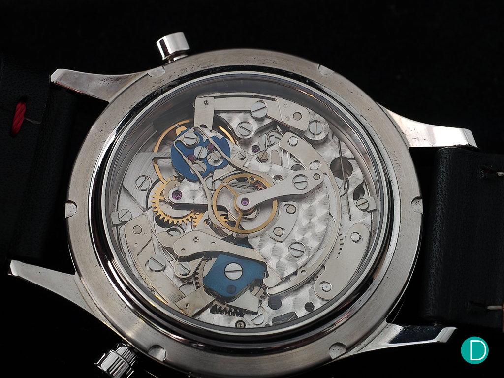 The caliber A08MR-MONO is based on the Valjoux 7760, with Richard's split seconds module.