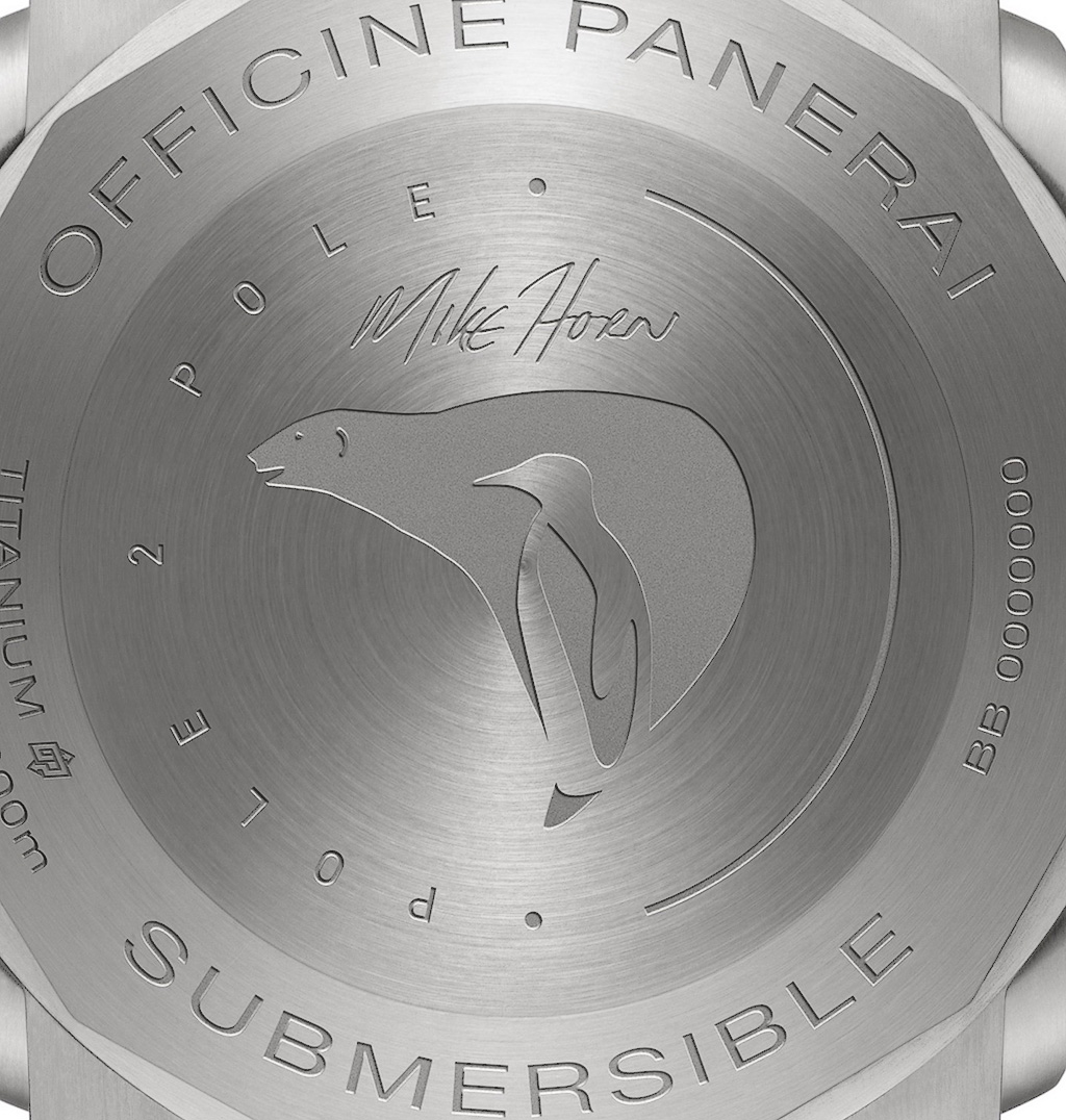PAM00719 caseback with Mike Horn's signature and the expedition logo (a polar bear and a penguin symbolizing the two poles).