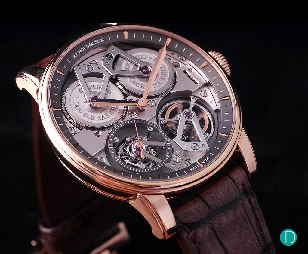 The Arnold & Son Constant Force Tourbillon. The dial is almost non-existent, allowing the entire movement to be showcased on the dial side.