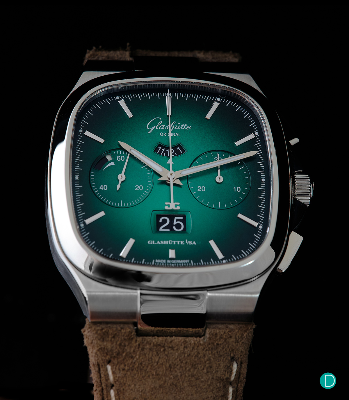 Just released and reviewed: Glashütte Original Seventies Chronograph Panorama Date Special Limited Edition in Green and Grey -